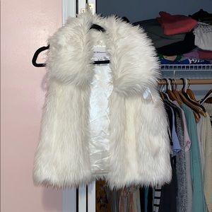 White fake fur vest